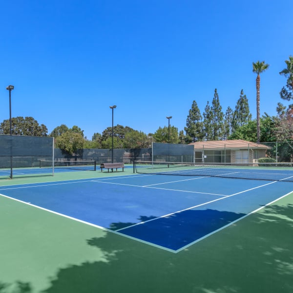 Play on the tennis court at Parcwood Apartments