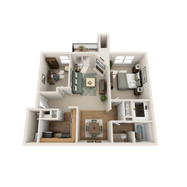 Aspen floor plan at Fountains at Steeplechase Apartments