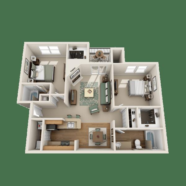 Ashwood floor plan at Fountains at Steeplechase Apartments