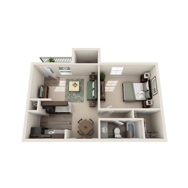 Aspen floor plan at The Point at Cypress Woods Apartments