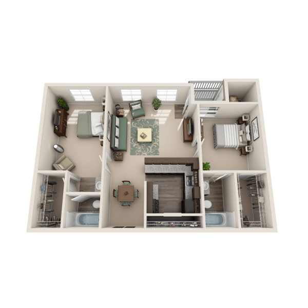 Juniper floor plan at The Point at Cypress Woods Apartments
