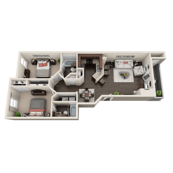 B2 floor plan at Enclave at Water's Edge Apartments