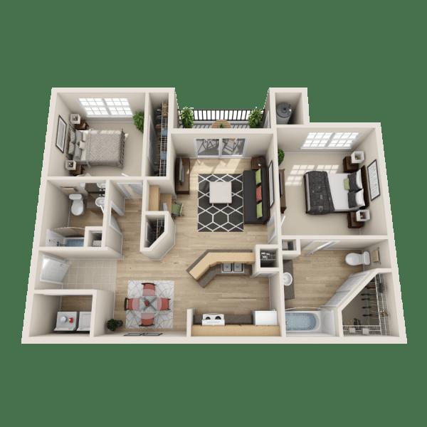 The Caspian floor plan at Salado Springs Apartments