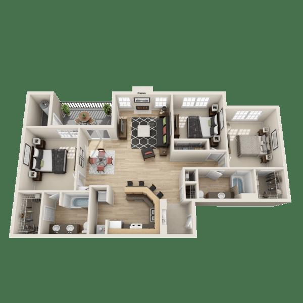 The Dynasty floor plan at Salado Springs Apartments
