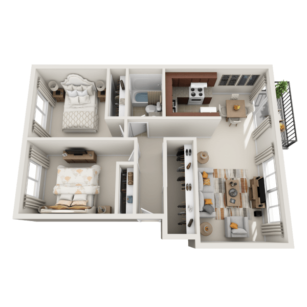 A2 floor plan at Lakeside Landing Apartments