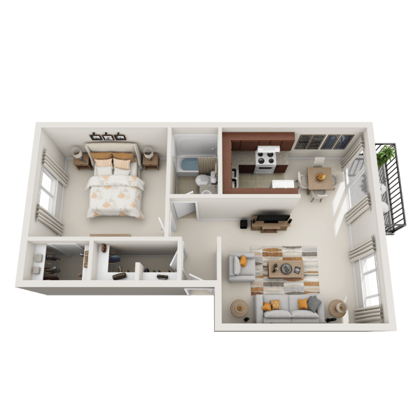 A1 floor plan at Lakeside Landing Apartments