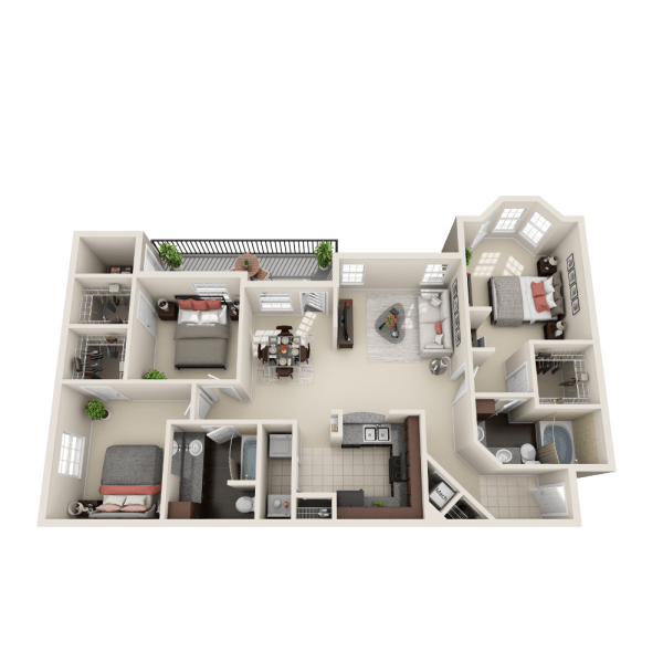 Larchmont floor plan at Ravinia Apartments