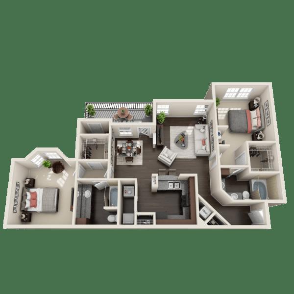Stonefield floor plan at Ravinia Apartments