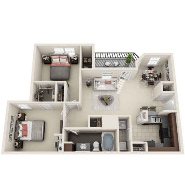 Riverton floor plan at Ravinia Apartments