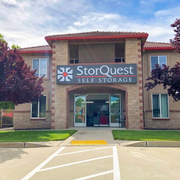 Exterior of the main entrance at StorQuest Self Storage in Elk Grove, California