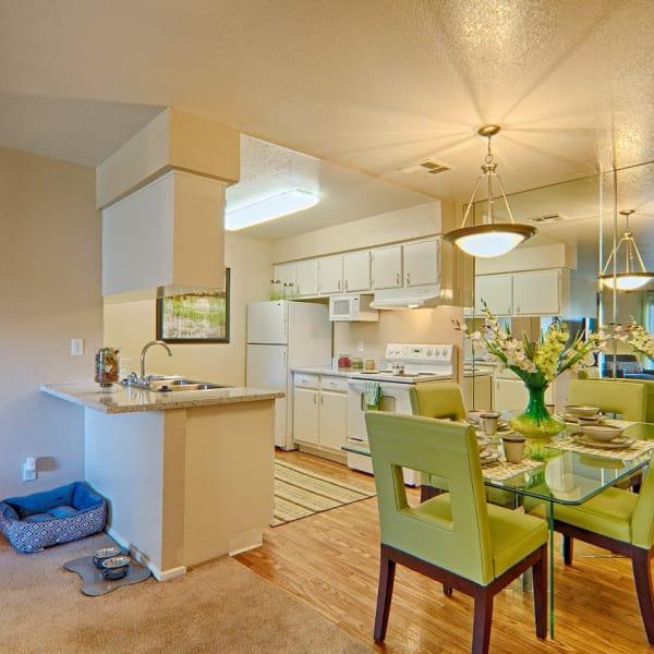 Beautiful dining room and kitchen at Granada Villas Apartment Homes in Lancaster, California