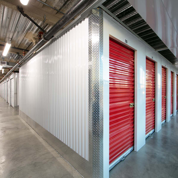 Indoor units with red doors at StorQuest Self Storage in Anaheim, California
