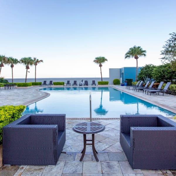 Beautiful view of the swimming pool area at 55 West Apartments