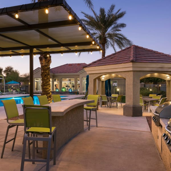 Outdoor grills and covered seating at Mira Santi in Chandler, Arizona