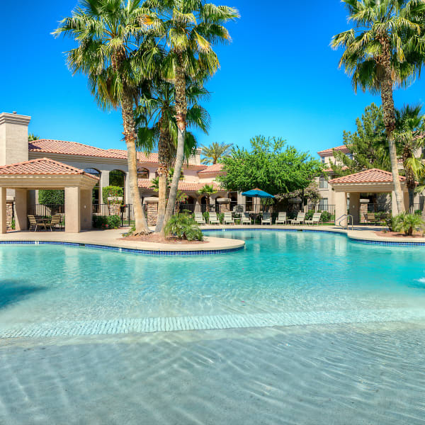 Stunning swimming pool area at San Pedregal in Phoenix, Arizona