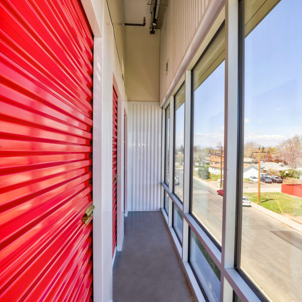 Interior units with red doors at StorQuest Self Storage in Denver, Colorado