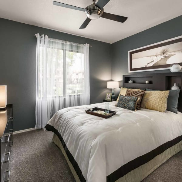 Bedroom in model home at San Marbeya in Tempe, Arizona