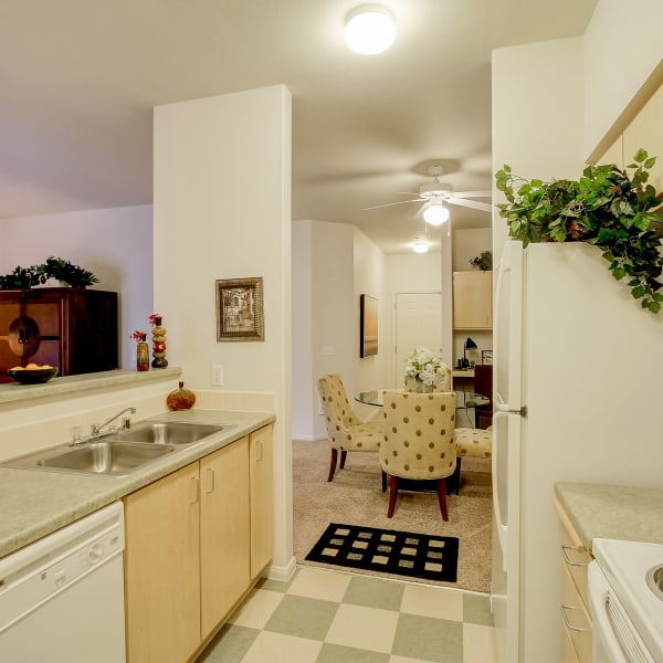 Open kitchen that leads into the dining room at The Dakota Apartments in Lacey, Washington