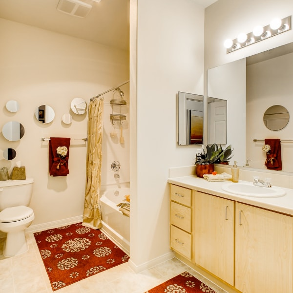 Spacious bathroom with a large vanity mirror and a oval tub at The Dakota Apartments in Lacey, Washington