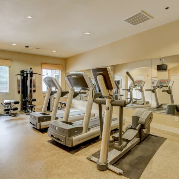 Fitness center with individual workout stations and full-body mirrors at The Dakota Apartments in Lacey, Washington