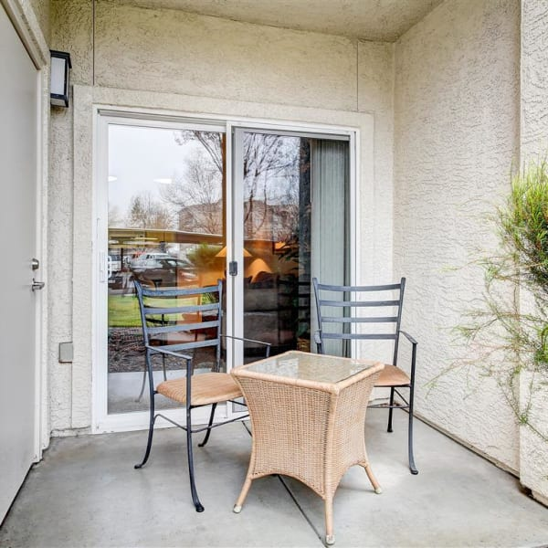 Private back patio at Laguna Creek Apartments in Elk Grove, California
