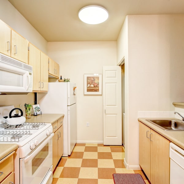 Kitchen with plenty of counter top space and white appliances at Laguna Creek Apartments in Elk Grove, California