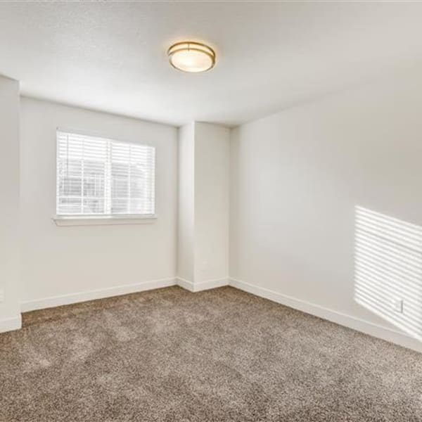 Bedroom with plush carpeting and window for natural lighting at Northwind Apartments in Reno, Nevada