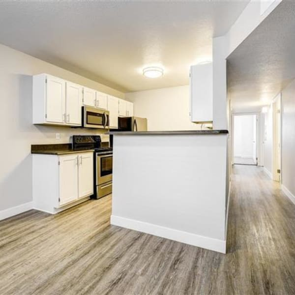 Kitchen overlooking the dining room at Northwind Apartments in Reno, Nevada