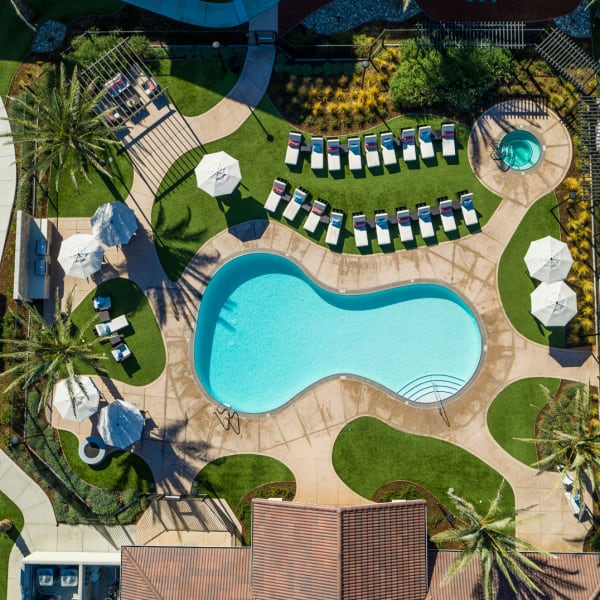 Aerial view of resort-style swimming pool at The Palms at Morada in Stockton, California