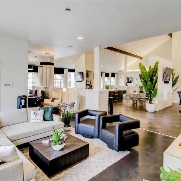 Modern clubhouse with plenty of space for entertaining guests at The Palms at Morada in Stockton, California