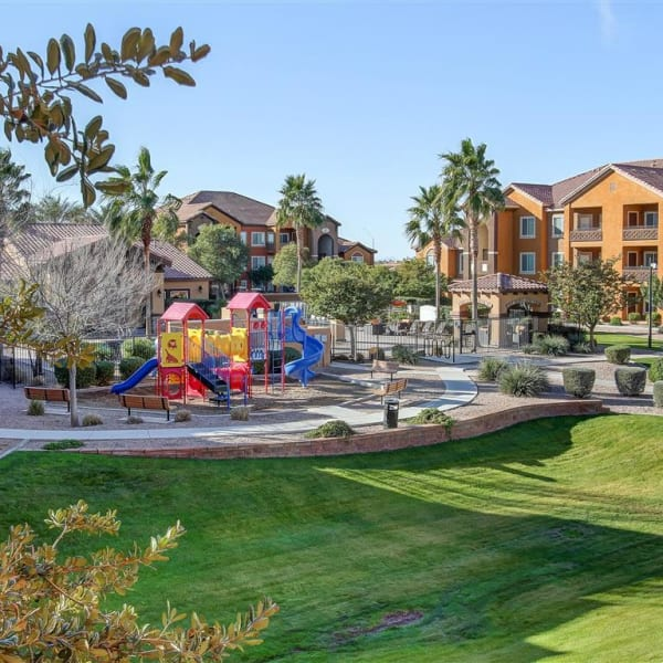 Large grassy lawn for sunbathing on summer days at Tierra Pointe in Casa Grande, Arizona
