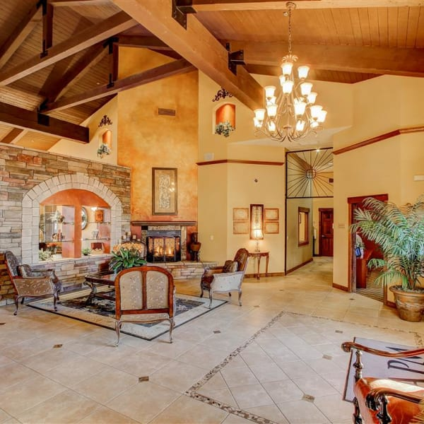 Beautiful rustic clubhouse interior at Tierra Pointe in Casa Grande, Arizona