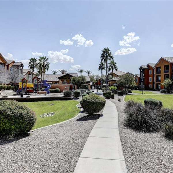Well-manicured walk-way at Tierra Pointe in Casa Grande, Arizona
