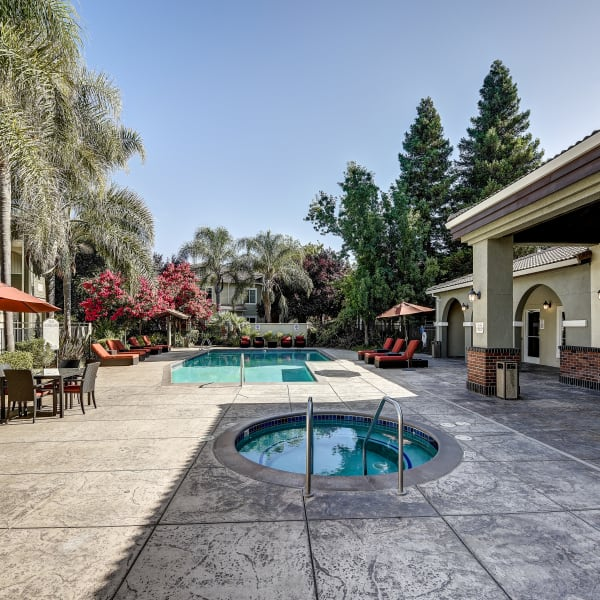 Resort-style swimming pool at Monticello at Southport in West Sacramento, California