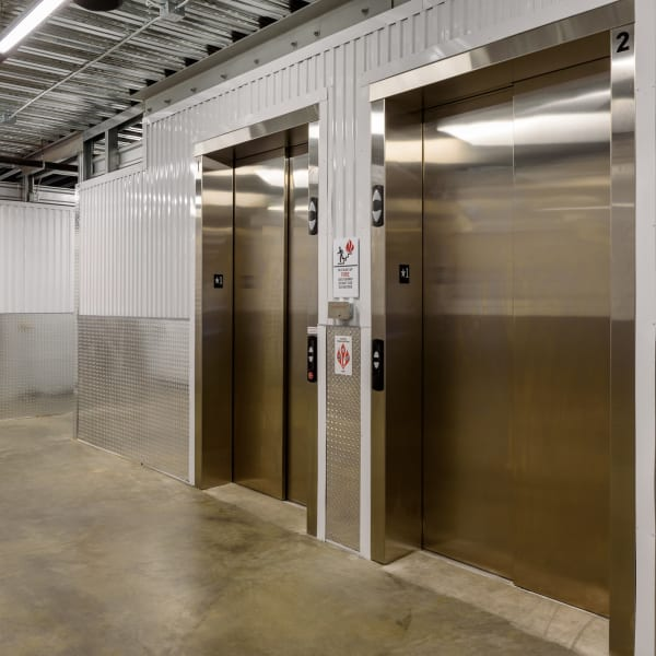Elevators at StorQuest Self Storage in Seattle, Washington