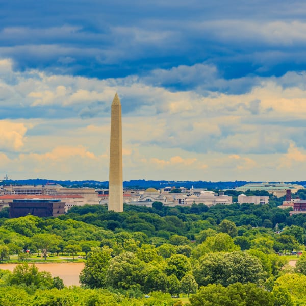 View of the National Monument from a distance near The Bixby in Washington, District of Columbia
