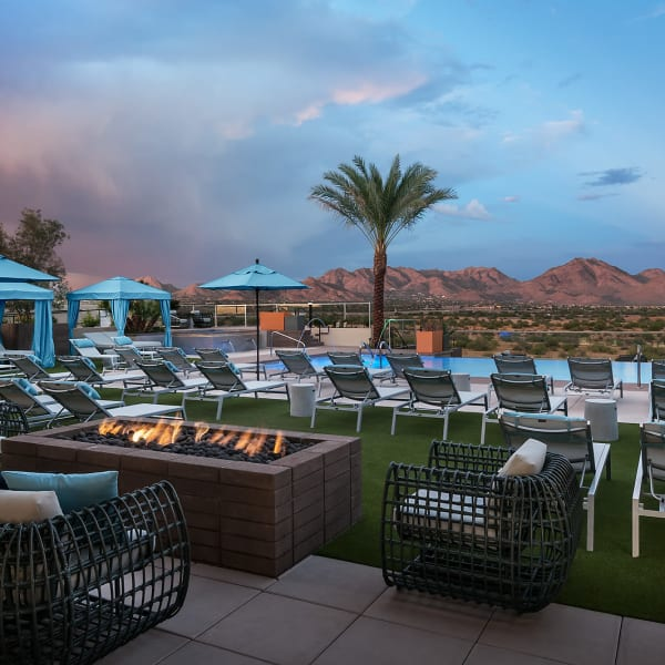 Beautiful fire and poolside seating at The Halsten at Chauncey Lane in Scottsdale, Arizona