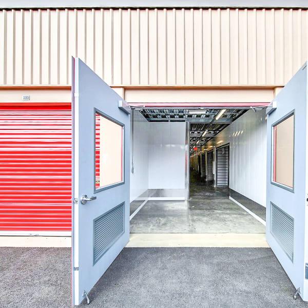 Open door leading to indoor units at StorQuest Self Storage in Santa Maria, California