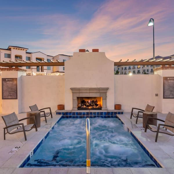 Beautiful fire and hot tub at Arista at Ocotillo in Chandler, Arizona