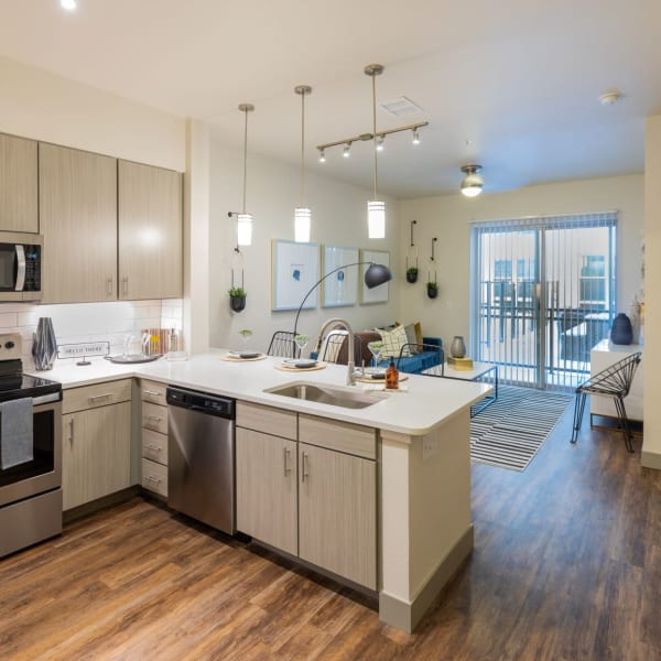 Trendy and Sophistication upscale kitchen with an open floorplan The Alcott in Denver, Colorado