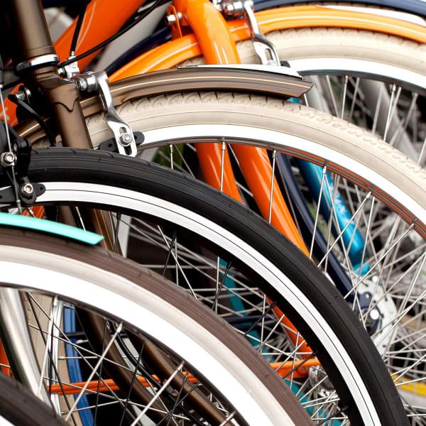 Close up of bikes near Milano in Portland, Oregon