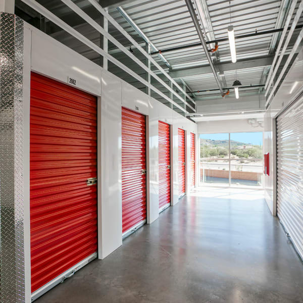 Interior units with bright doors at StorQuest Self Storage in Lake Stevens, Washington