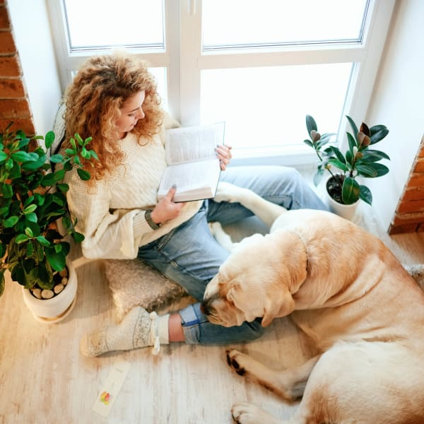 Resident and her dog relaxing with a good book by the window in their new apartment at The Enclave in Brunswick, Georgia