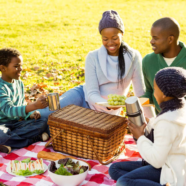 Resident family on a picnic near Olympus Woodbridge in Sachse, Texas