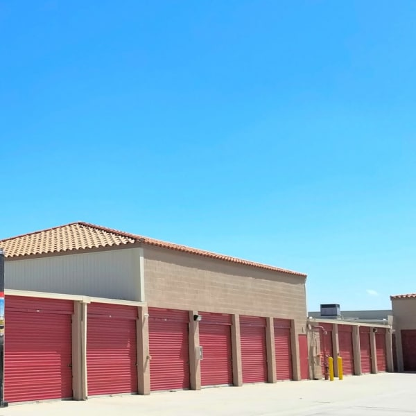 Large outdoor storage units at StorQuest Self Storage in La Quinta, California