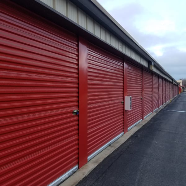 Outdoor storage units with bright doors at StorQuest Self Storage in Bakersfield, California