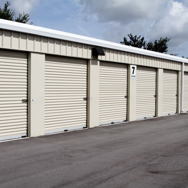 White doors on outdoor units at Hayward Self Storage in Hayward, California