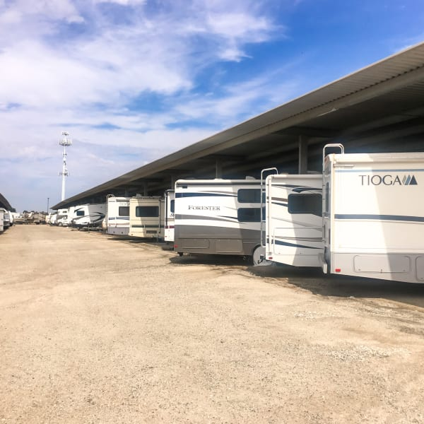 Covered RV parking at StorQuest RV & Boat Storage in Littleton, Colorado
