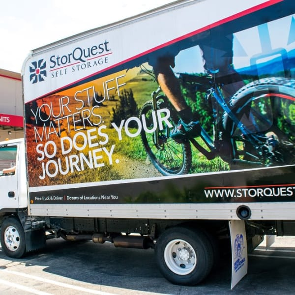 A branded moving truck at StorQuest Self Storage in Richmond, California