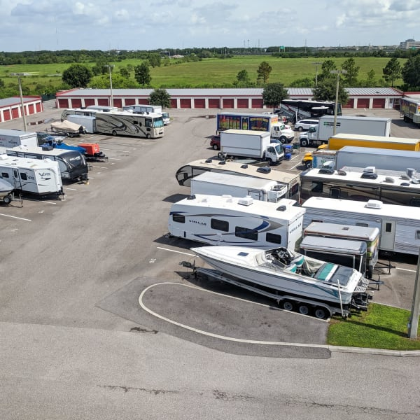 RV and boat parking at StorQuest RV & Boat Storage in Littleton, Colorado